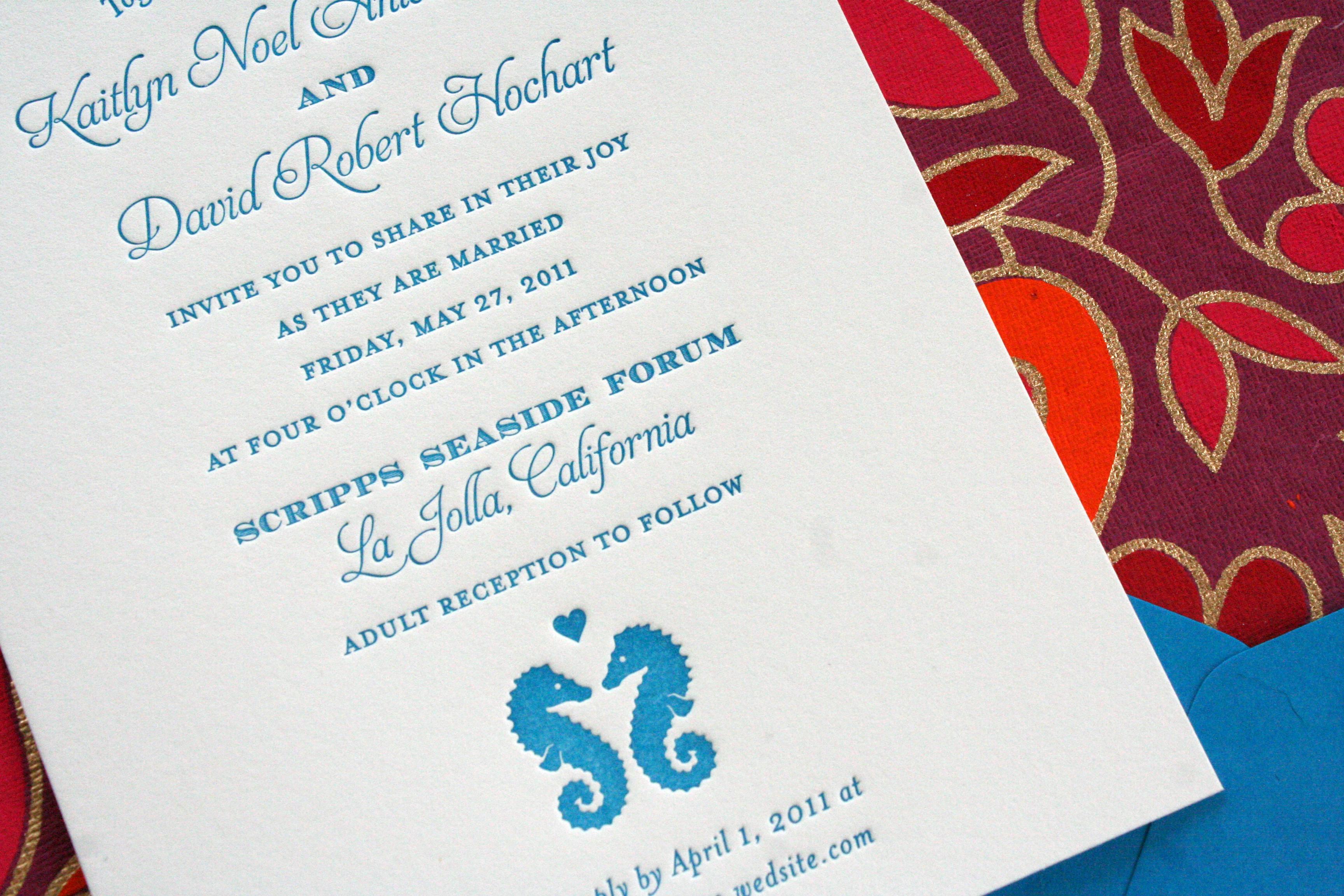 Sea Horse Letterpress Wedding Invitation
