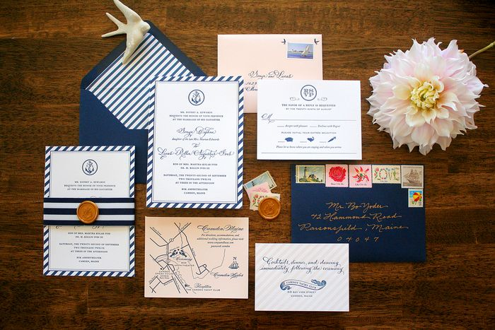 The Invitation Suite Included An Rsvp With A Soft Pink Envelope Reception Card And Map All Tied Together Navy Blue White Grosgrain