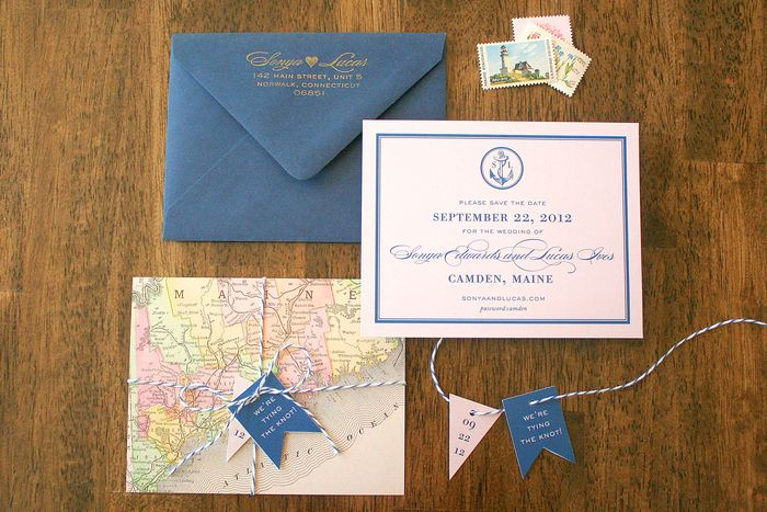 One Side Had A Vintage Map Of Mid Coast Maine And The Other Wedding Details Including An Achor Logo That We Carried Throughout
